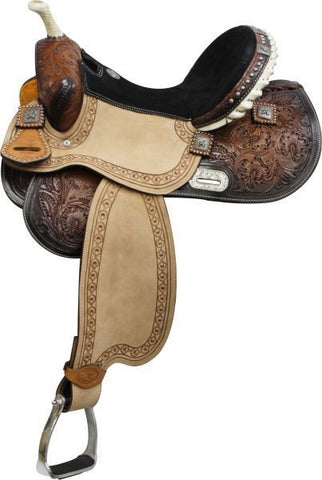 Double T 14' Barrel Style Saddle with Barrel Racer Conchos.*Full QH Bars*