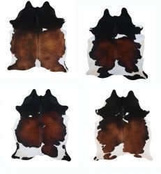 LG/XL Brazilian Tri-Colored hair on cowhide rug. Measures approximately 42.5 - 50 square feet. Colors/shades, patterns and sizes will vary. Some cowhides may have scars or brand marks.