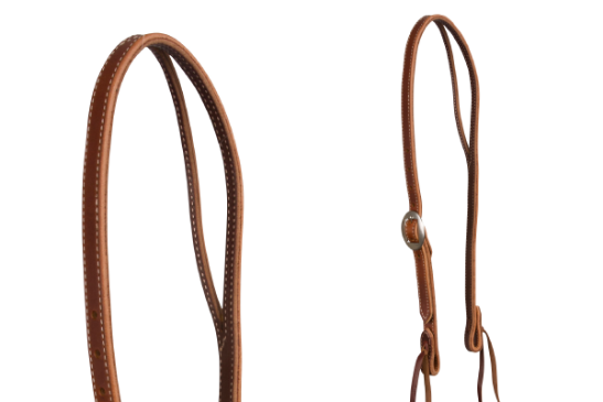 Headstall- Slit-Ear Stitched Russet