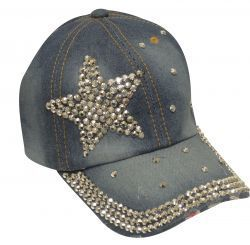 Showman Couture ™ Bling denim hat with crystal rhinestone star