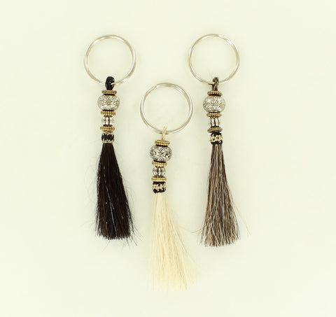 100% Horsehair Keychain with Beads