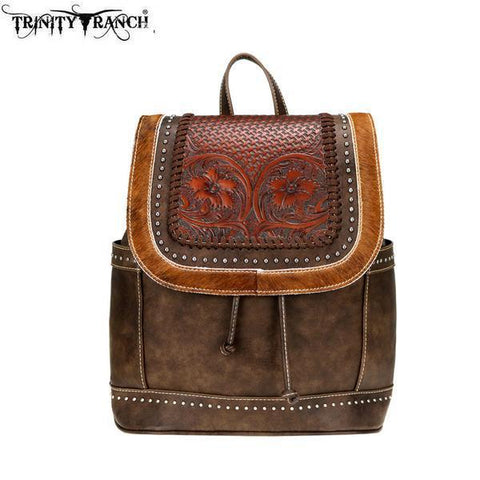 Trinity Ranch Tooled Hair-On Leather Collection Backpack