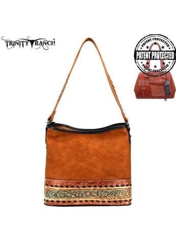 TR93G-916 Trinity Ranch Tooled Leather Collection Concealed Carry Hobo