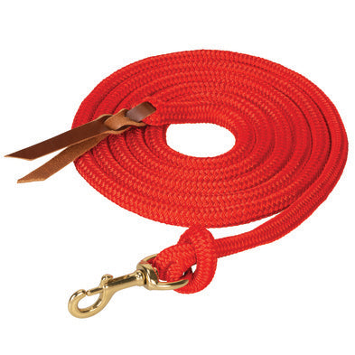 "WEAVER- 5/8"" x 10' Poly Cowboy Lead w-Swivel Snap, Leather Popper w-Bleeding Heart Knot."