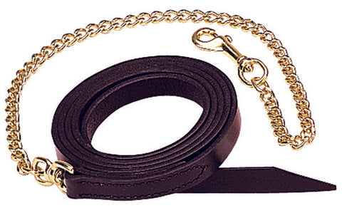 "WEAVER-Single-Ply Leather Horse Lead 1""  with 30"" Brass Chain."