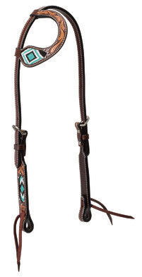 "WEAVER-Genuine Cowhide Turquoise Beaded Sliding One Ear Headstall, 5/8"". Dark Oiled Leather"