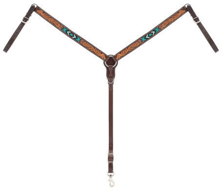 "WEAVER-Genuine Cowhide Turquoise Beaded Straight Breast Collar, 1-1/4""Dark Oiled Leather."
