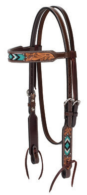 "WEAVER-Genuine Cowhide Turquoise Beaded Browband Headstall, 5/8"" Dark Oiled Leather."