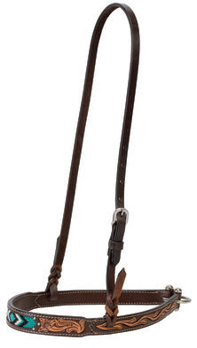 "WEAVER-Genuine Cowhide Turquoise Beaded, Noseband 1-1/4"". Dark Oiled Leather."