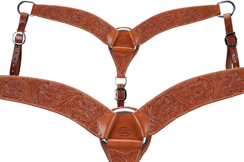 Cactus Tack Breast Collar- 2 3/4″ 3-Piece Floral Tooled