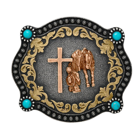 Nocona Rectangle Cowboy Prayer Buckle