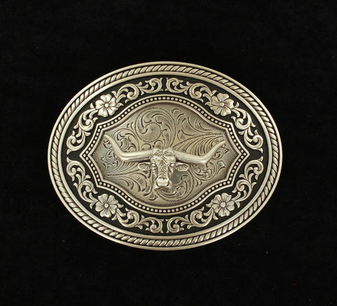 Oval Rope Edge Scroll Buckle With Longhorn Motif