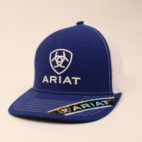 Ariat Mens Blue, White Logo Cap