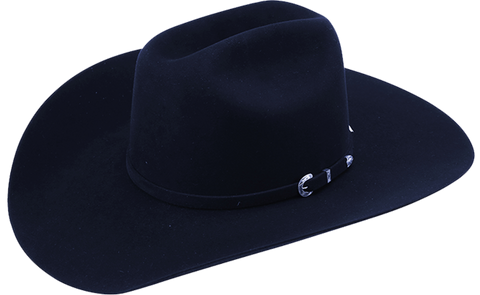 American 10X Black 4-1/4in. Brim Open Crown Felt Cowboy Hat,