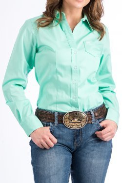 Cinch-Women's Solid Green Button-down Western Shirt Style: MSW9164028