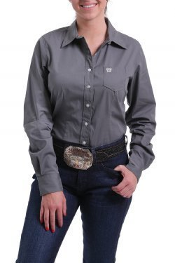 Women's Charcoal Solid Button-Up Shirt Style: MSW9164029