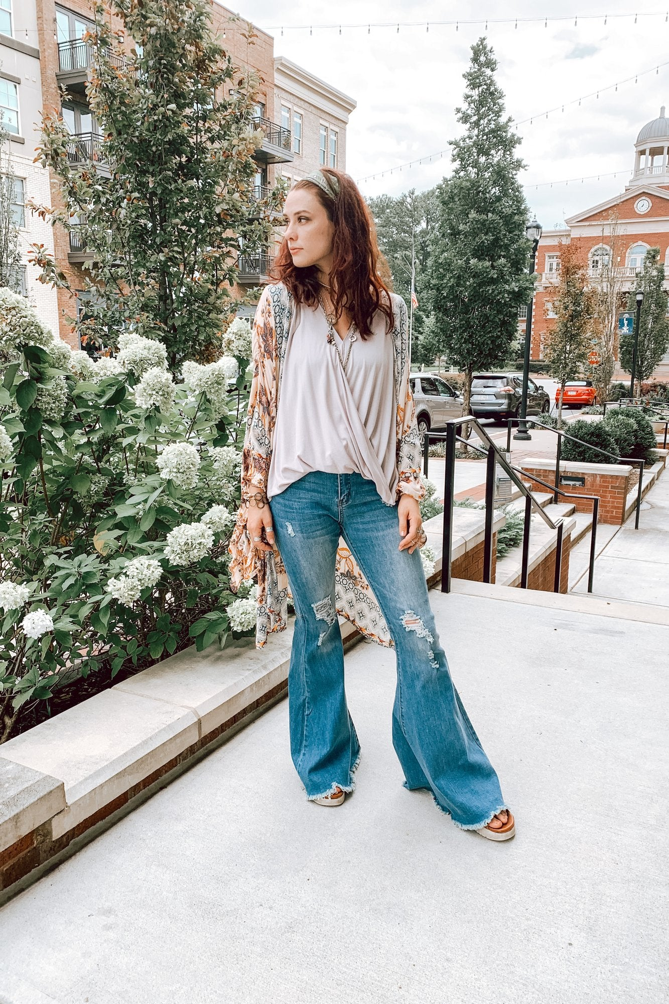 Flare Jeans with layered top