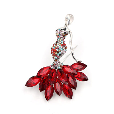 Classic Dancing Girls Brooch Pins Red Crystal Brooches Christmas Gift Party Weddings Accessories
