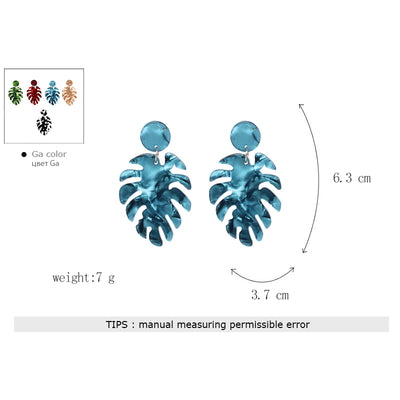 Earrings For Women Charm Leaves Shaped Vintage Statement Resin