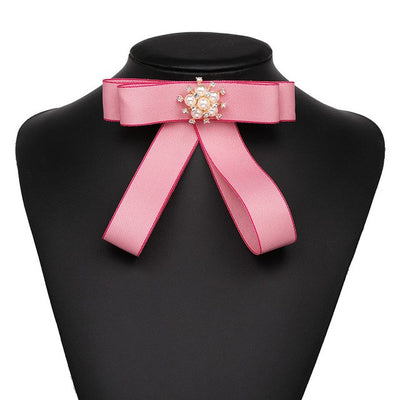 Jewelry Simulated Pearl Bowknot Brooches For Women Tie Collar