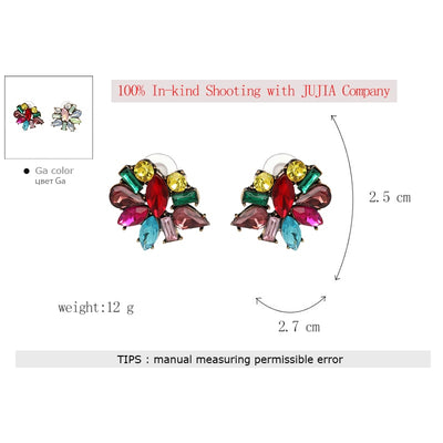 Fashion Multicolor Cute Crystal Stud Earrings For Women Flower