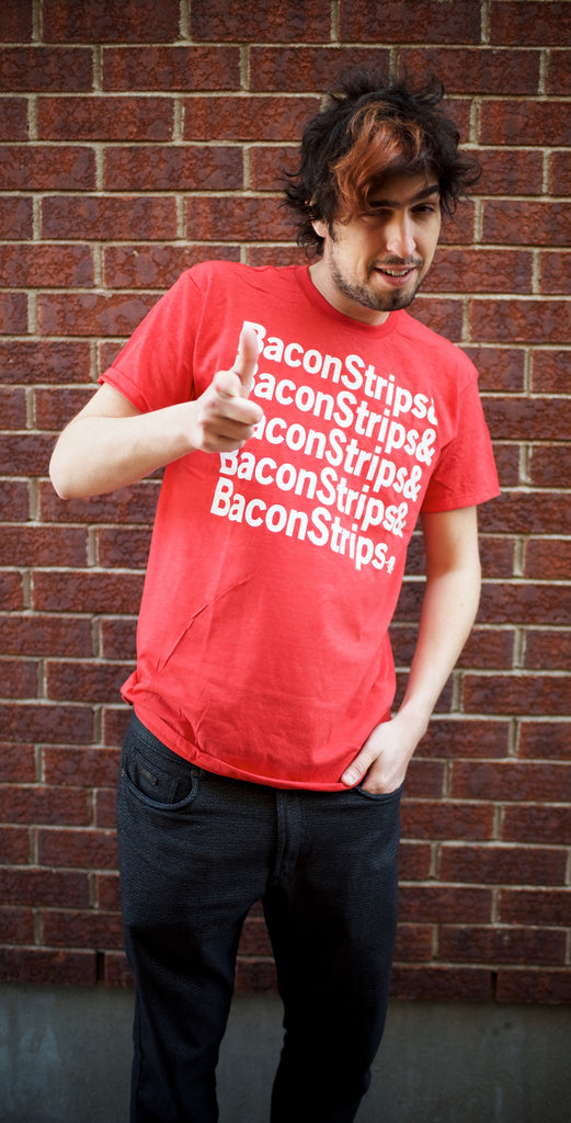 T-SHIRT Bacon Strips Red with White Writing