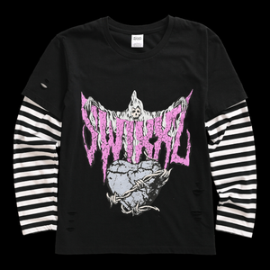 Lonely Heart Stacked Long Sleeve Tee by Maggie Lindemann's clothing brand SWIXXZ.