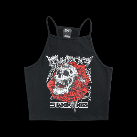 SWIXXZ Reign Of Terror Black Crop Tank Top from SWIXXZ by Maggie Lindemann