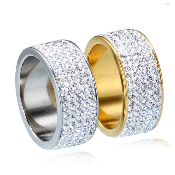 Hip Hop Full Rhinestone Bling Ice Out Mens Ring Gold Color Titanium  Stainless Steel Rings for 165cc09c7c8f