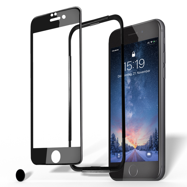 "iPhone 6/6S Displayschutz + Homebutton - ""the Curved"" schwarz"