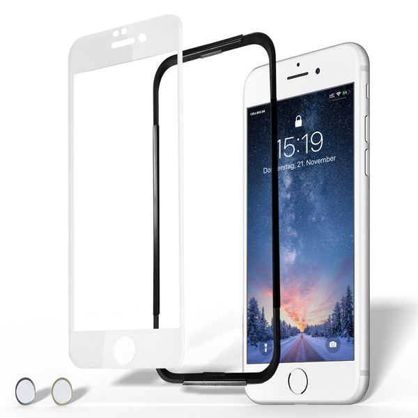 "iPhone 6/6S Plus Displayschutz + Homebutton - ""the Curved"" Weiß"