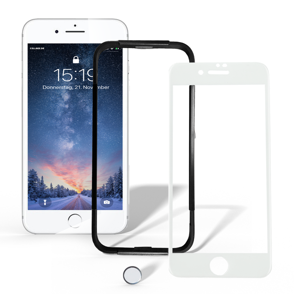 "iPhone 7/8 Displayschutz + Homebutton - ""the Curved"" Weiß"