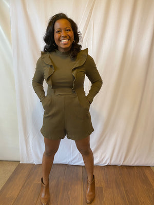 Tickle My Ribs Romper (Olive)