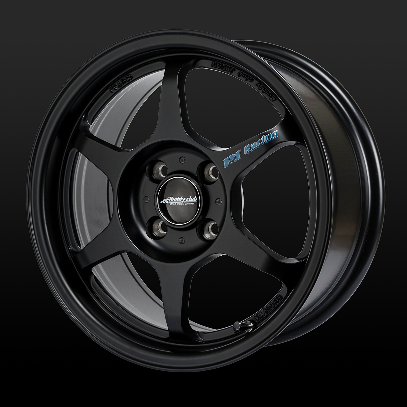 "Buddyclub P1 SF 15"" x 8.0 +32 OFFSET 5/114.3 BLACK WHEEL"