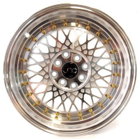 JNC031 White Machined Face Gold Rivets
