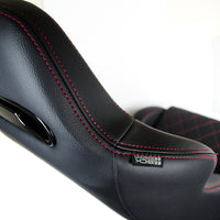 PAIR SICKSPEED GAIJIN SERIES BLACK RACING SEATS W/ RED DIAMOND STITCH LIGHTWEIGHT