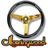 "MORNINGWOOD REAL MAHOGANY BLACK/24K STEERING WHEEL 360MM/14"" DEEP DISH"