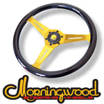"MORNINGWOOD BLACK/GOLD STEERING WHEEL 360MM/14"" DEEP DISH CLASSIC"