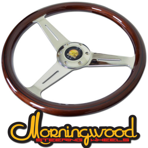 "MORNINGWOOD REAL MAHOGANY BROWN/CHROME STEERING WHEEL 360MM/14"" DEEP DISH"