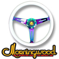 "MORNINGWOOD WHITE/NEO CHROME STEERING WHEEL 350MM/14"" DEEP DISH CLASSIC"