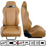 PAIR SICKSPEED GAIJIN SERIES TAN RACING SEATS VIP DIAMOND STITCH LIGHTWEIGHT