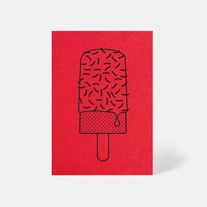 Ice Lolly Card Bright Red