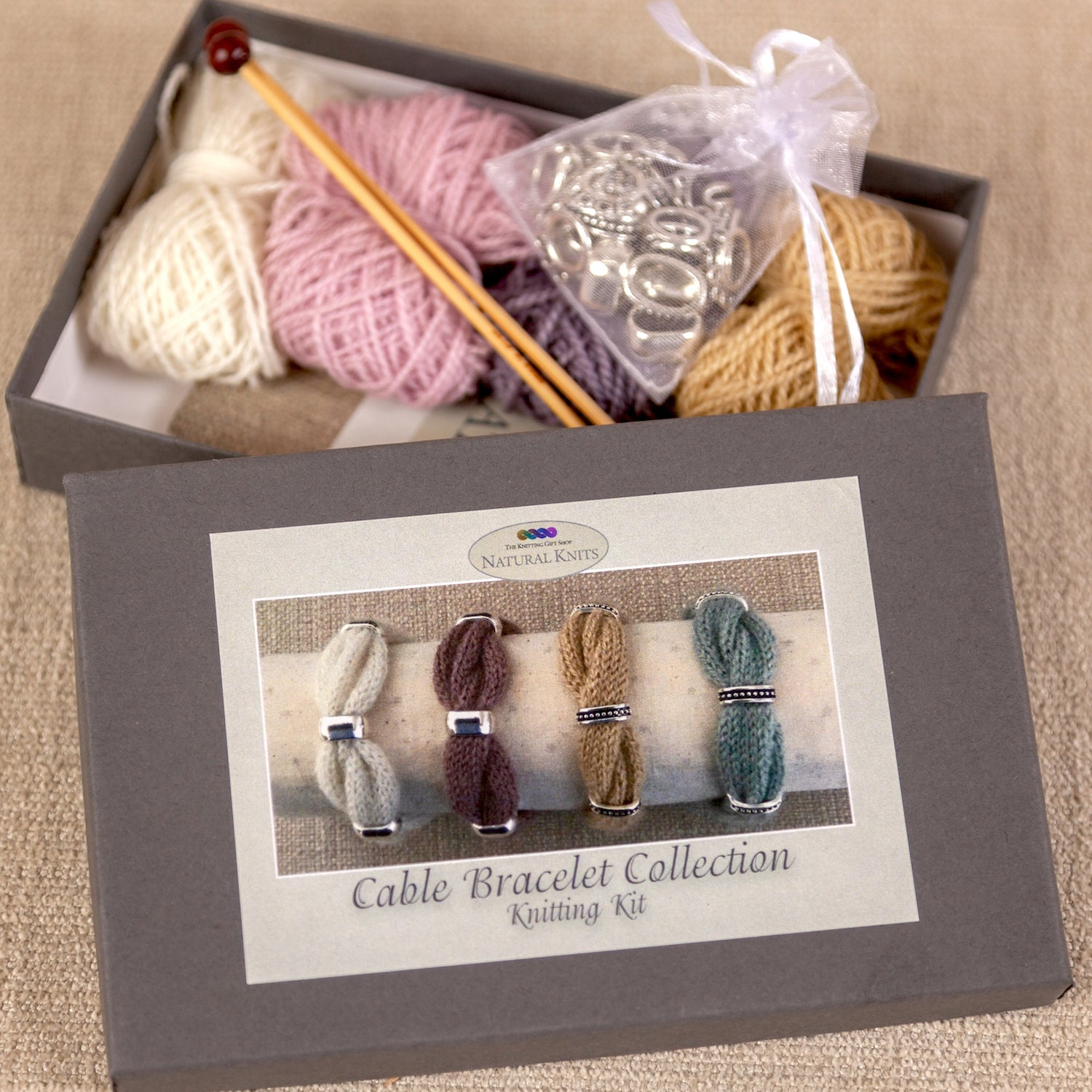 Cable Bracelet Knitting Kit Gift Box