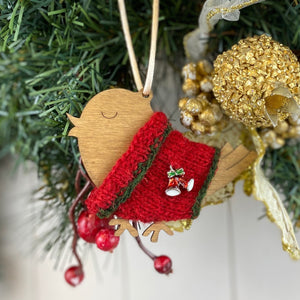 Festive Robin Decoration Knitting Kit