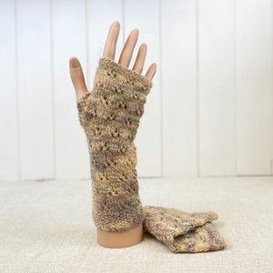 Eyelet Design Hand Warmers Knitting Kit