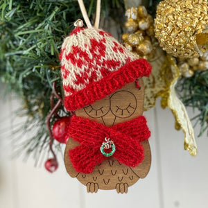 Fair Isle Christmas Owl Decoration Knitting Kit