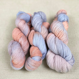 100g Organic Merino Lace Weight - Faded Peach, Fawn & Forget-Me-Not