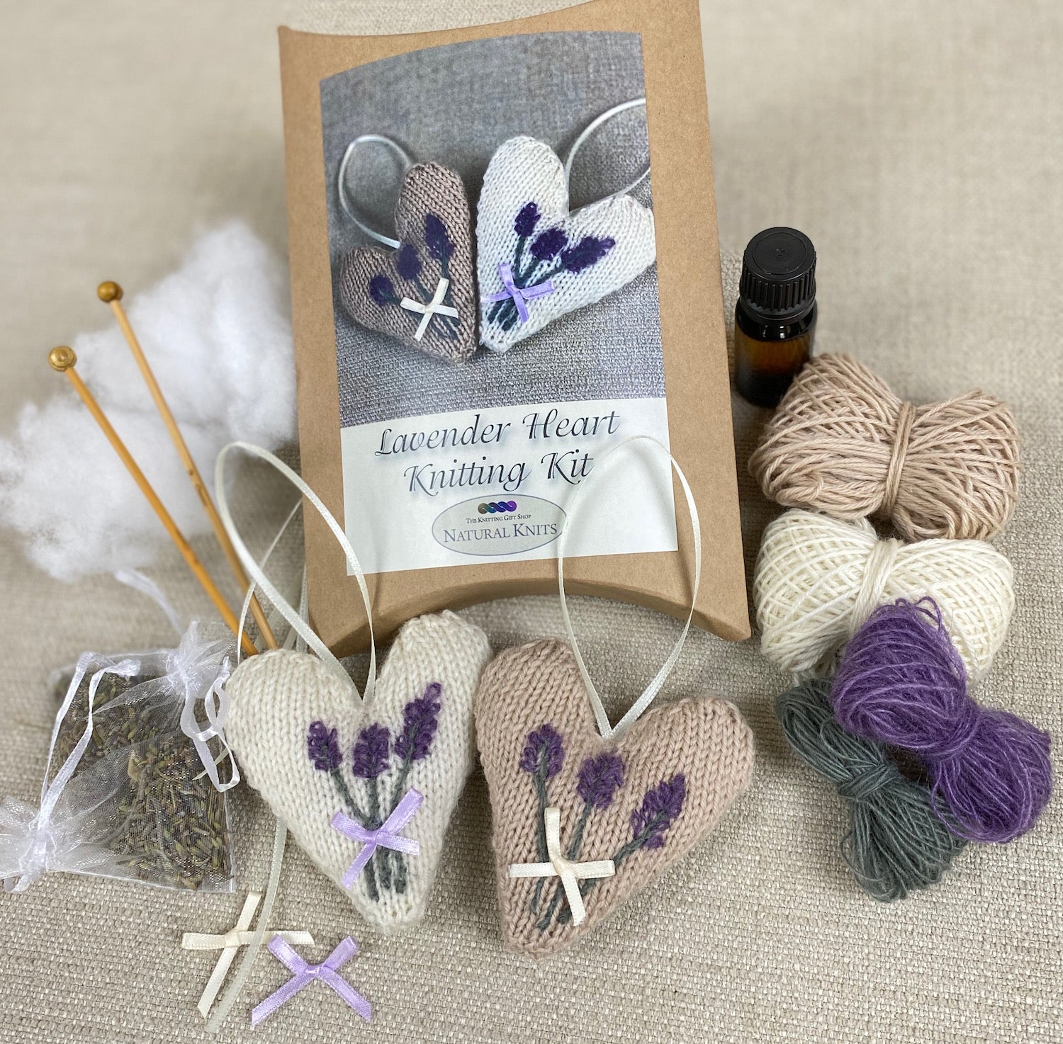 Lavender Heart Knitting Kit (With Embroidered Lavender)