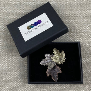 Autumn Leaves Design Metal Brooch