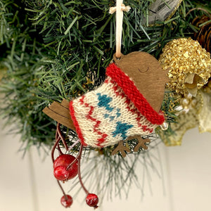 Fair Isle Christmas Robin Decoration Knitting Kit